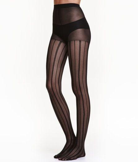 Check this out! Een gestreepte panty met elastiek in de taille. 30 denier. – Ga naar hm.com om meer te bekijken.