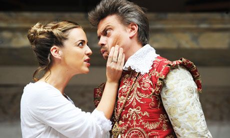 Miranda Raison as Anne Boleyn and James Garnon as King James in Anne Boleyn at the Globe Theatre