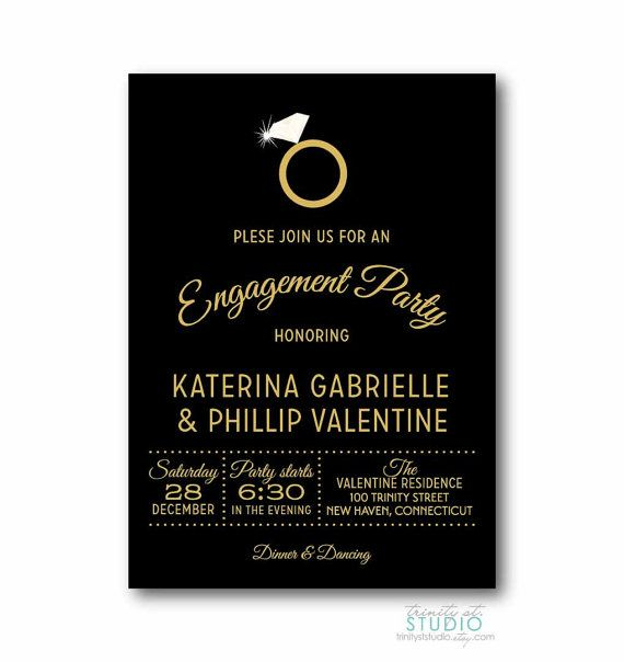 Engagement Ring Party Invitation - She Said Yes in Black ...