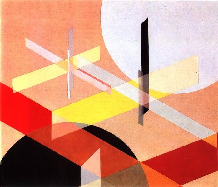 Laszio Moholy Nagy - composition Z VIII(1924) 밝은 색감과 더불어 면으로만 이루어진 사각형을 넣어 입체감을 잘 나타낸것같다. 배경같은 2개의 원의 대비도 흥미롭다. 겹쳐지면서 나타나느면들도 입체로 표현하다면 더욱 흥미로울 것 같다.