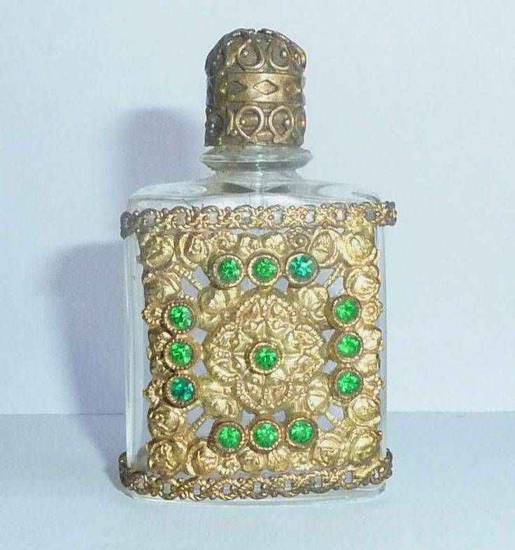 Mini+Metal+Covered+Empty+Perfume+Bottle+With+13+Green+Stones+#Glass