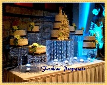 Wedding Cake Stand Cascade Waterfall Crystal Set Of 9 Acrylic Stands With A Battery Operated Led Light