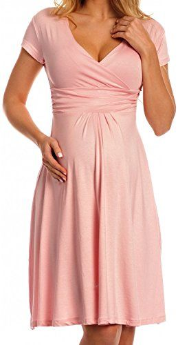 Zeta Ville - Women's Maternity Wrap V-neck Summer Dress - Short Sleeves - 108c (Powder Pink, 16) Zeta Ville https://www.amazon.ca/dp/B00XKY82JY/ref=cm_sw_r_pi_dp_0215wbMESRK54