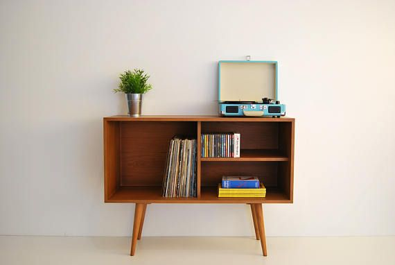 Vinyl Record opslag, Mid Century Modern dressoir, Media Console, Record Cabine, Mid Century Furniture, Sandinavian Design, Retro