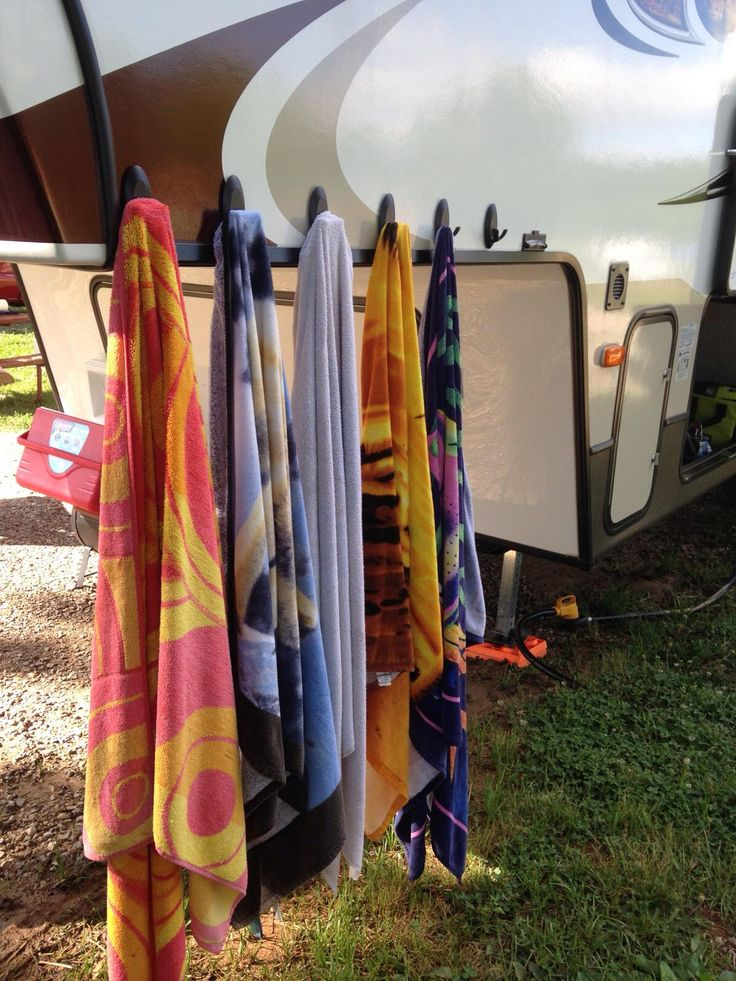 Command hooks on the side of the camper for towels!