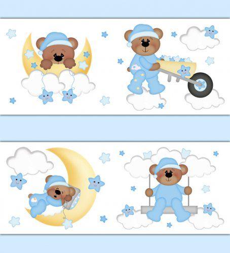 Teddy Bear Wallpaper Border Wall Decals Cloud Moon Star Nursery