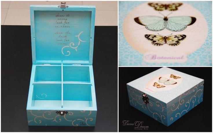 A butterfly decoupage box for Iza --- Szkatułka z motylami na skarby Izy --- www.facebook.com/Decoudream
