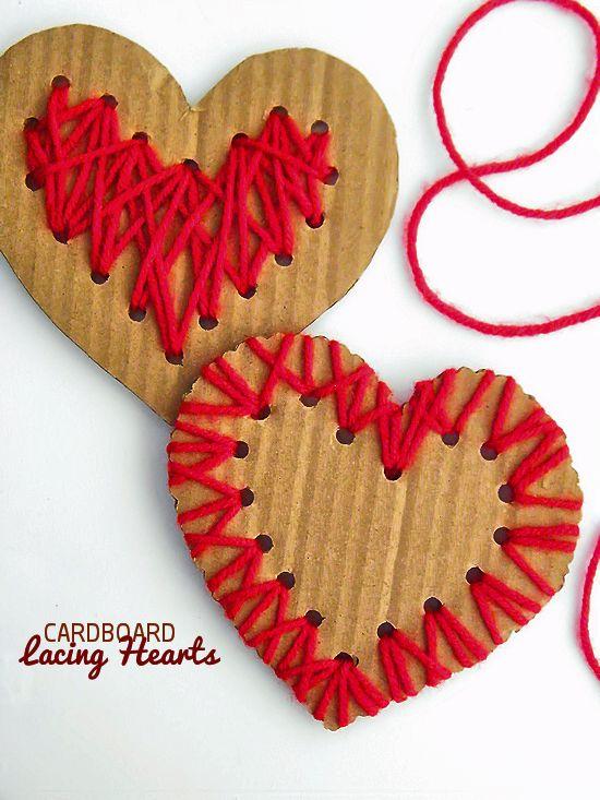 Cardboard Lacing Hearts Valentine's Day Craft