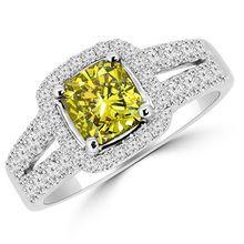 Cushion Cut Canary Yellow Diamond Halo Engagement Ring