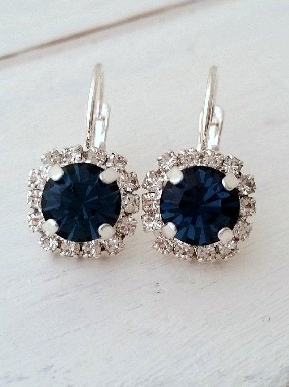 Navy blue earrings,navy blue bridesmaid gifts,studs,Swarovski crystal drop earrings, Bridal earrings,navy blue drop earrings, silver or gold
