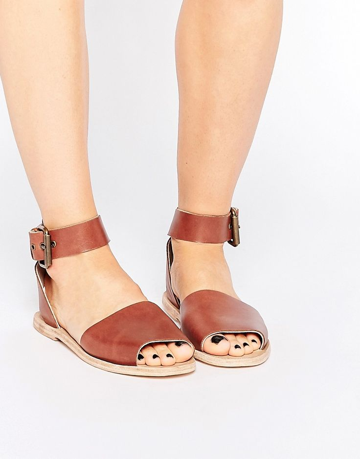 Image 1 of Hudson London Soller Tan Leather Flat Sandals