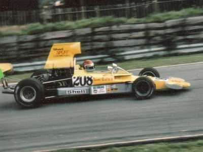 Tom Belso on track in T330 HU2 at Brands in October 1973.