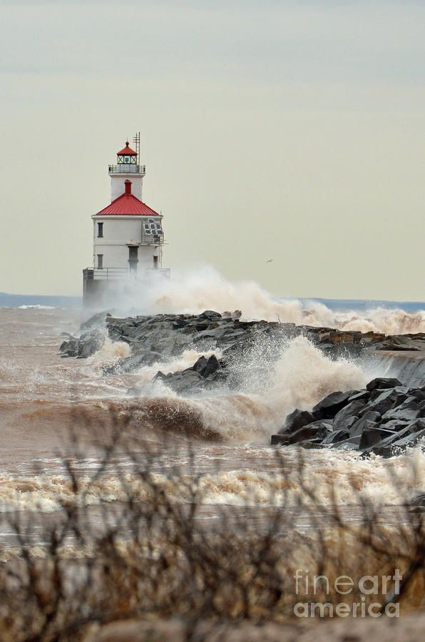 """*""""Lighthouse In The Storm"""" - Lake Superior"""
