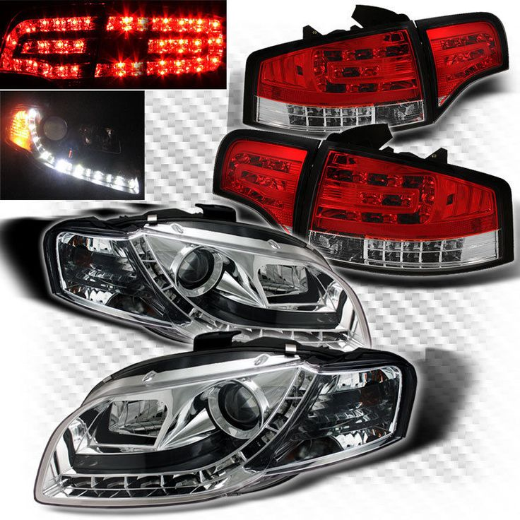 For 2006-2008 Audi A4 S4 B7 DRL LED Projector Headlights+LED Tail Head Lights