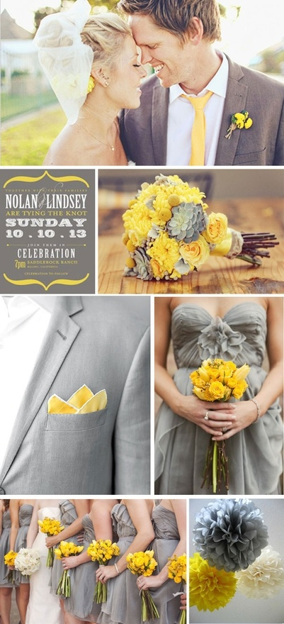Yellow + Grey wedding inspiration.... love the colors but maybe instead of yellow a dark pink or teal