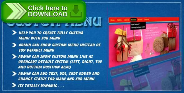 [ThemeForest]Free nulled download opencart custom menu from http://zippyfile.download/f.php?id=50205 Tags: ecommerce, custom menu, custom menu with sub menu, custom sub menu, menu, menu sub menu, oc custom menu, opencart custom menu, opencart custom menu module, opencart dynamic menu, opencart editable menu, opencart menu, opencart stylist menu, sub menu