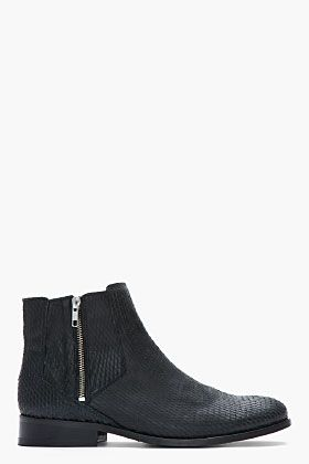 Surface To Air Black Python Effect Leather Ankle Boots for men | SSENSE