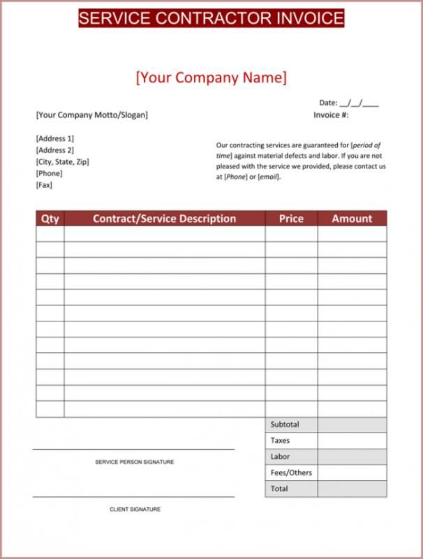 image relating to Free Printable Construction Invoice Template named Contractor Bill Template template Monthly bill template