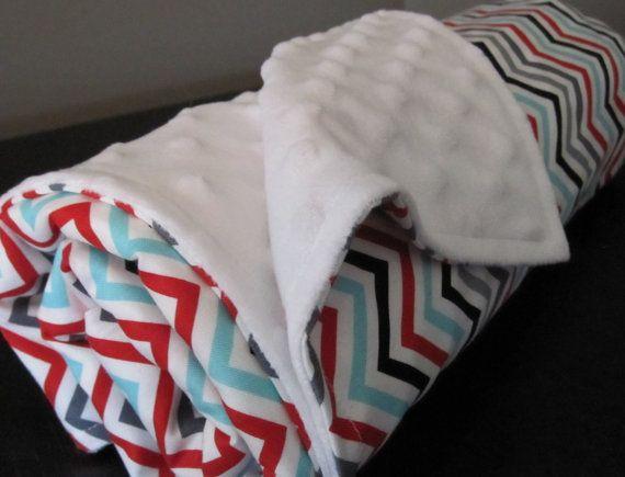 Custom Baby Blanket Aqua Red Black Grey Chevron by NeutralNursery, $30.00