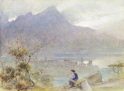 Stansstad Et Pilatus, Suisse de Albert Goodwin (1845-1932, United Kingdom)