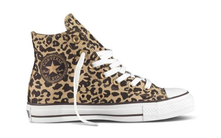 Bruine Converse sneakers met luipaard print €74,95 #converse