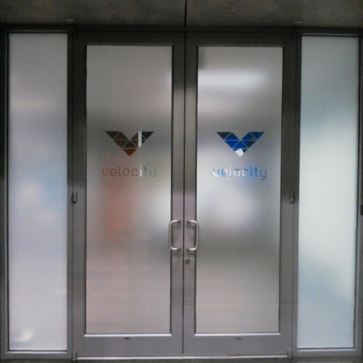 Custom etched frosted film privacy covering for glass door ... |Frosted Glass Office Doors