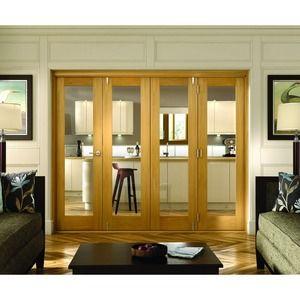 Wickes Belgrave Internal Folding 4 Door Set Oak Veneer 1 Lite 2074 X 2990mm