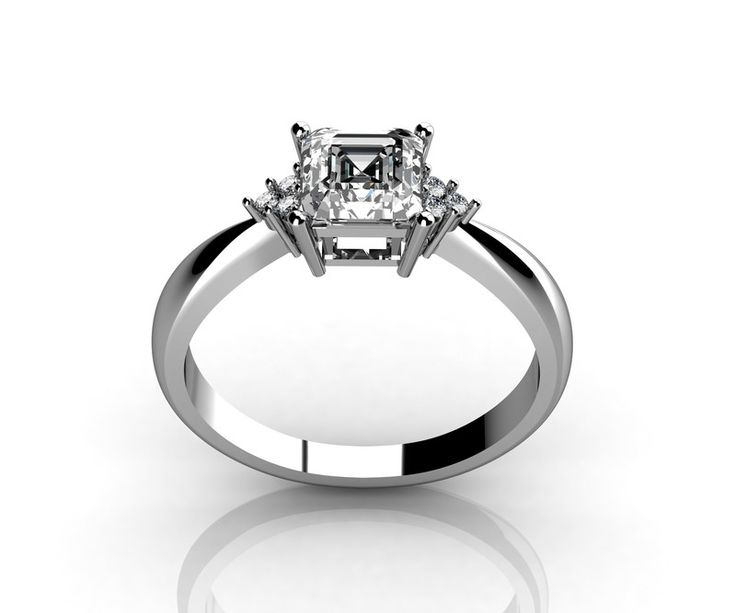 New Buy Kt white gold Asscher diamond engagement ring studded with side diamond online from Dubai Wholesale Diamonds wholesale prices