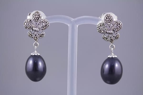 Cultured Black Pearl, Sterling Silver and Marcasite Earrings