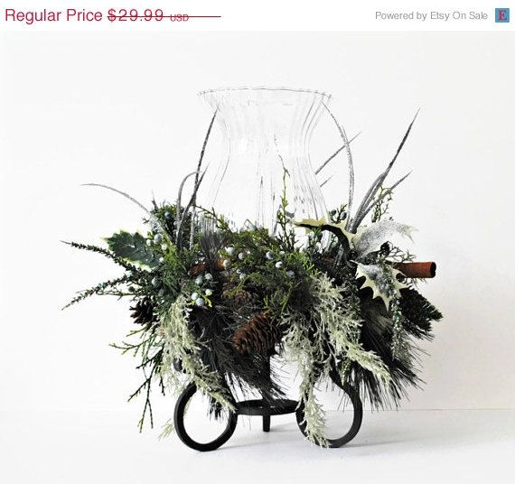 Recycled Winter Floral on Wrought Iron by BridgetsCollection