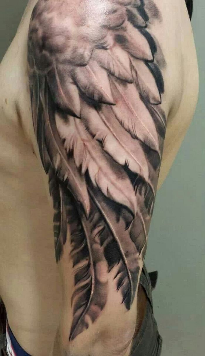 Feather wing sleeve tattoo for men