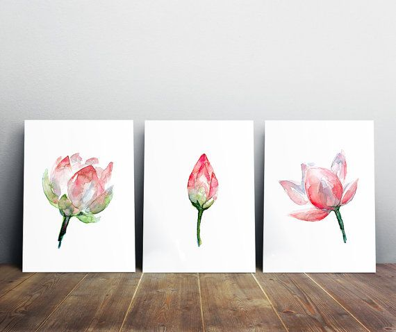 lotus aquarel schilderij - set van 3 prints - roze bloem -bloemen illustratie - lotus poster - roze decoratie - lotus boeddhisme kunst