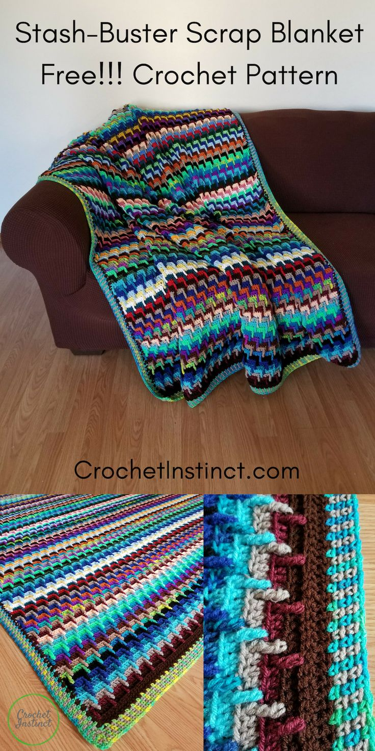 Stash-Buster Blanket- Free Pattern and Photo Tutorial