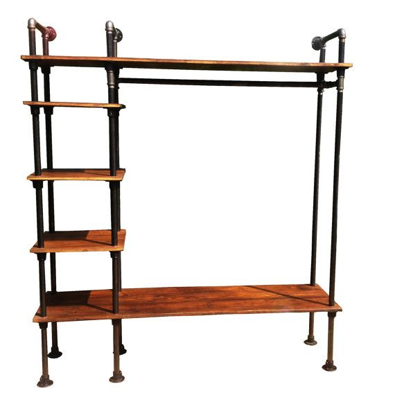 Retro Clothes Rail Vintage Industrial Style with Gas Pipes Old Rustic Wood Wardrobe Fitted Shop Display