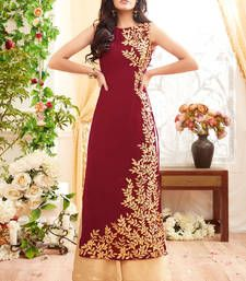 Buy Maroon embroidered georgette semi stitched salwar with dupatta pakistani-salwar-kameez online