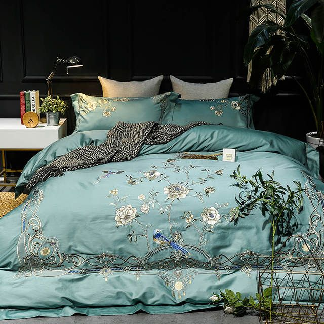 Online Shop Luxury Exquisite Flower Embroidery 60s Egyptian Cotton Bedding Set Queen King Size Duvet Cove Linen Bed Sheets Bed Linens Luxury Queen Bedding Sets