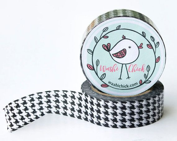 houndstooth washi tape - 1 roll, 15mm x 10m, black and white, planner tape, deco tape,
