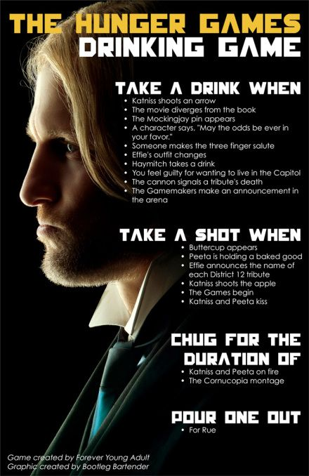 Not Hunger Games... Drinking games with Haymitch! #hungergames #catchingfire | bootlegbartender.com