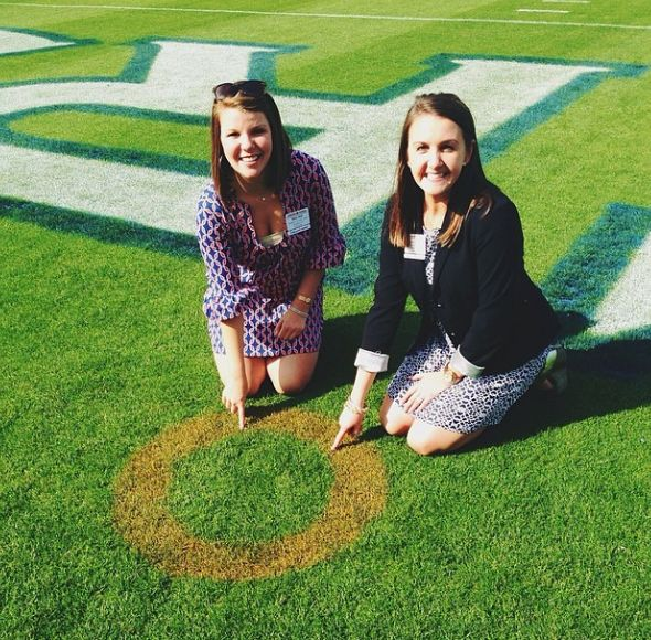 Auburn marks the spot where Chris Davis caught the missed field goal to win the game and beat undefeated and defending National Champions Alabama in the 2013 Iron Bowl.