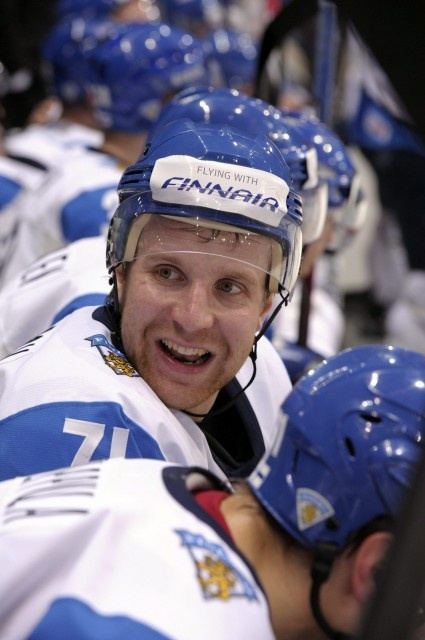Leo Komarov of Finland gestures in the bench during Group H game Finland vs Switzerland of the 2012 IIHF Ice Hockey World Championships in Helsinki, Finland on May 8, 2012.