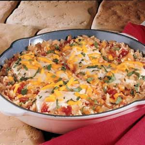 Easy Santa Fe Chicken - I substitute Brown rice and cook rice for about 20 minutes before I put in skillet.  Healthy and everyone likes it.