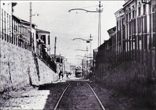 El tranvía pasaba por calle Tocornal del Cerro Barón, años 40