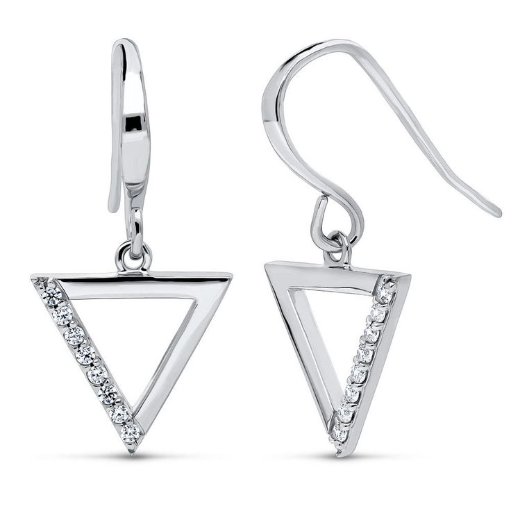 Berricle Sterling Silver Cz Triangle Fashion Fish Hook Dangle Drop Earrings