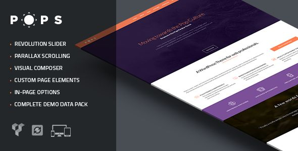 Pops One Page #Parallax for #Wordpress - #themeforest #webdesign #inspiration #creative #onepage #template #theme #agency #business #corporate #flat #photography #portfolio
