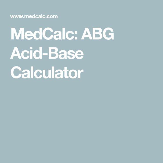 MedCalc: ABG Acid-Base Calculator