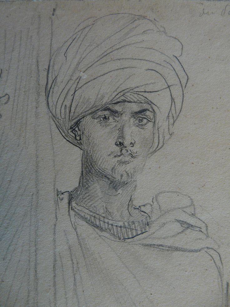 CHASSERIAU Théodore,1846 - Arabe coiffé d'un Turban, debout contre un Arbre - drawing - Détail 19