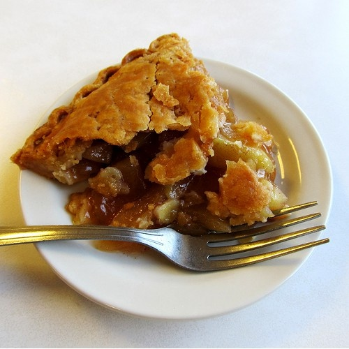 Americana - LUSH: Apple pie at Betty's.  Today is the perfect sort of day for a hot apple pie — fresh out of the oven, flaky and buttery.  That's exactly the sort of pie you can find up at Betty's Restaurant in Harrisburg, Arkansas. It's one of those great places you can find by following a guy in a pick-up truck from a construction site, or by asking the ladies at a local quilter's guild — a comfortable place for a bite to eat.