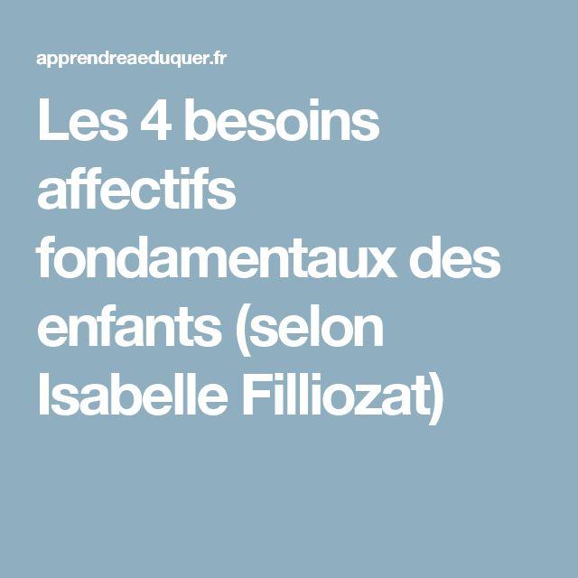 Les 4 besoins affectifs fondamentaux des enfants (selon Isabelle Filliozat)