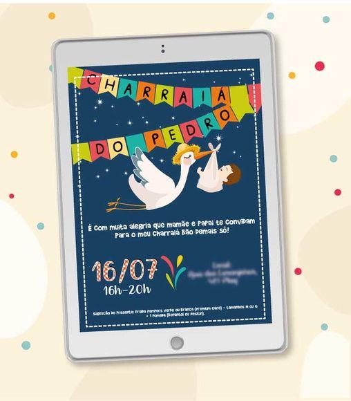 Convite Digital Cegonha Festa Junina