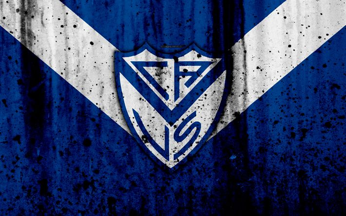 Download wallpapers 4k, FC Velez Sarsfield, grunge, Superliga, soccer, Argentina, logo, Velez Sarsfield, football club, stone texture, Velez Sarsfield FC